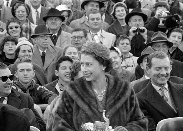 Queen Elizabeth seated during the UNC Maryland football game, 1957