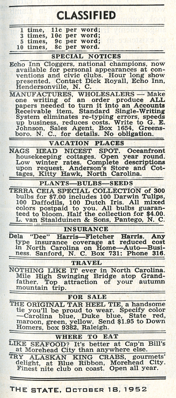 Classified advertisements, The State, 1952-10-18, page 11.