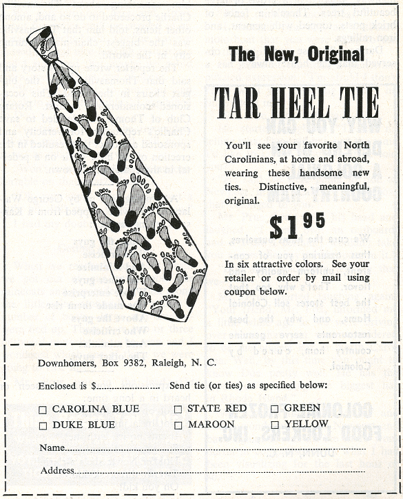 Illustrated advertiement for The Original Tar Heel Tie, The State, 1952-11-01_p19.