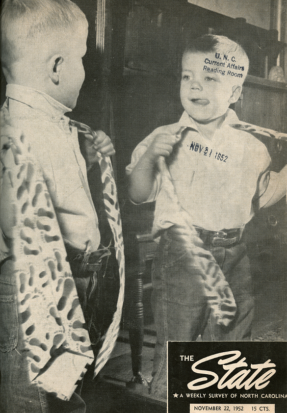 Cover of The State, 1952-11-22, featuring the Tar Heel Tie.