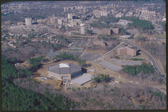 Aerial view of the Student Activity Center under construction circa 1985.