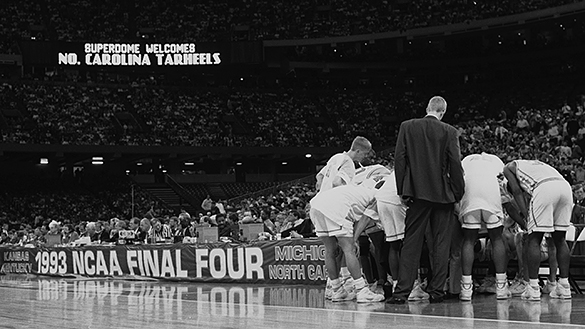 UNC basketball team huddles during 1993 NCAA final