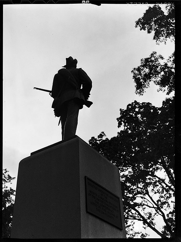 Silent Sam in silhouette