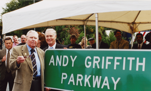 Andy Griffith and Governor Mike Easley at the dedication of the Andy Griffith Parkway, 2002.