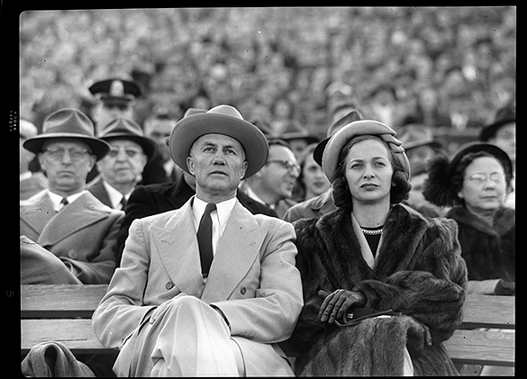 South Carolina governor Strom Thurmond and wife Jean at the November 18, 1950 UNC vs. USC football game.