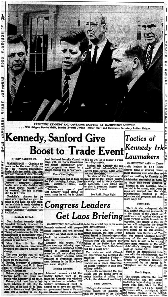 """Kennedy, Sanford, Give Boost to Trade Event,"" News and Observer, 28 April 1961, page 1."