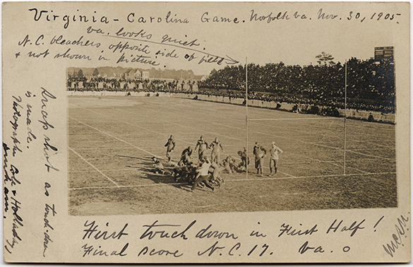 Scene from the University of North Carolina versus University of Virginia football game, 30 November 1905 at Norfolk, Virginia.  Photograph by Cole & Holladay, Durham.  North Carolina Collection Photographic Archives, University of North Carolina at Chapel Hill Image Collection (P0004).