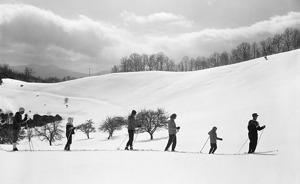 Skiers at Ctaloochee Ski Slopes