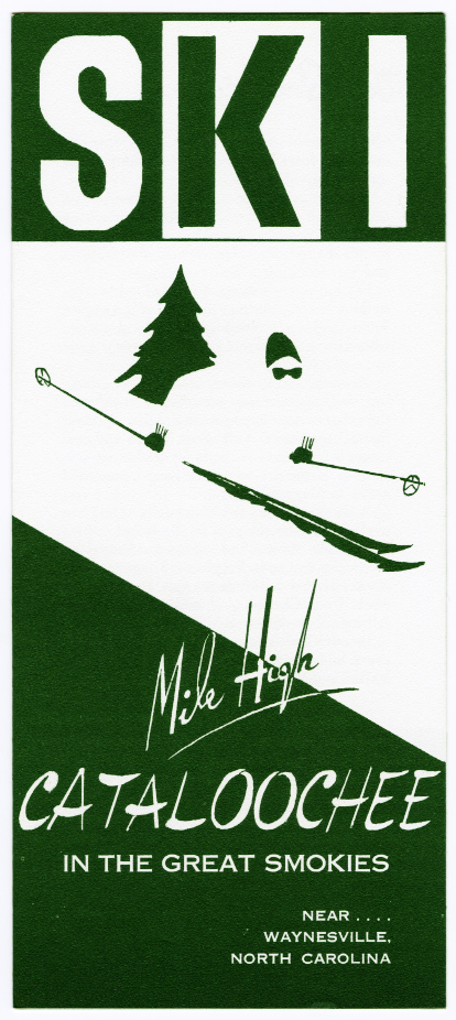 Front page of a travel brochure for the Cattaloochee Ski Slopes.