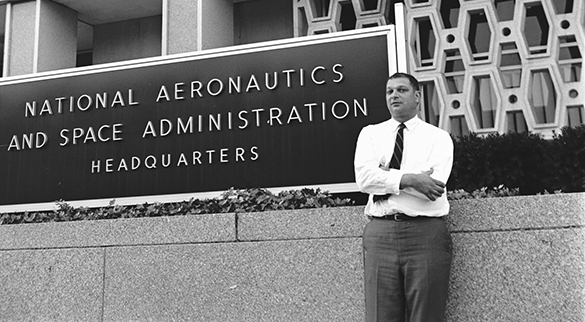 Julian Scheer outside NASA headquarters in Washington, D.C., September 1965.