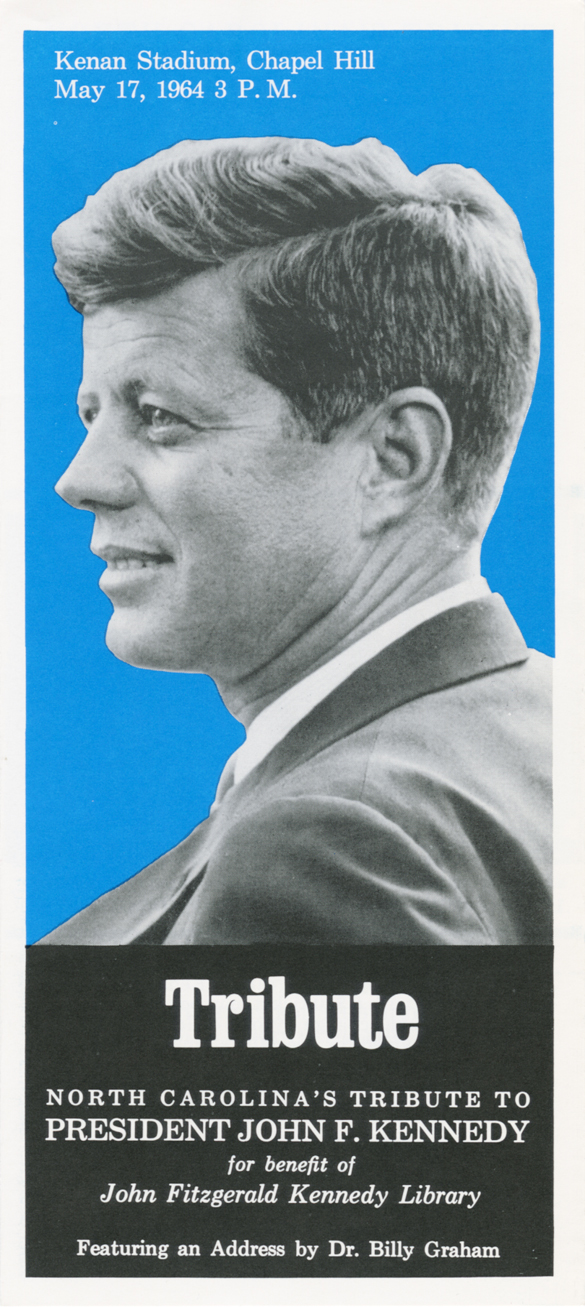 Flyer announcing North Carolina's Tribute to John F. Kennedy.