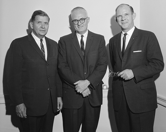 Governor Terry Sanford with Hugh Morton and Andy Anderson during a John F. Kennedy Memorial Library Fundraising Committee meeting, 16 April 1964.