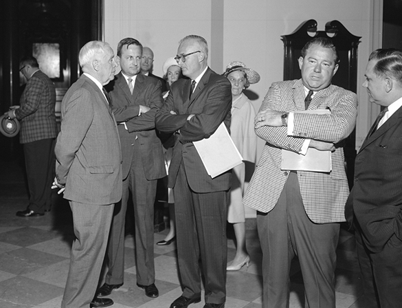 Hugh Morton in conversation with then former Governor Luther Hodges, Jr.
