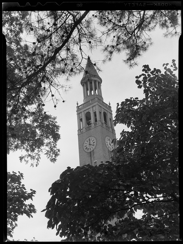 The November 1946 issue of The Alumni Review featured on its cover a cropped version of this photograph of the Morehead-Patterson Bell Tower.