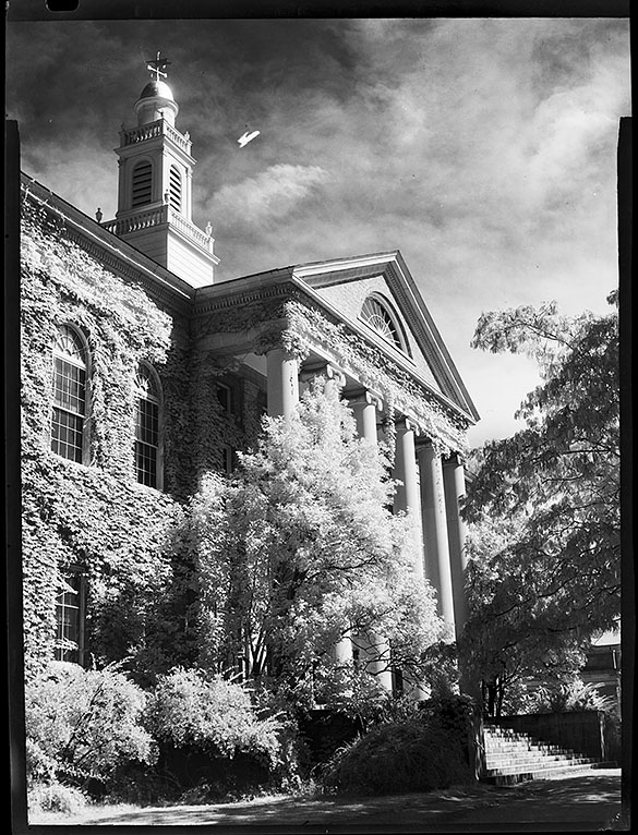 "The December 1946 issue of The Alumni Review used this photograph of Manning Hall with a caption that explained the conditions on campus. ""Like many other University buildings now, Manning Hall (home of the University's Law School) is crowded with students.  Enrollment in the school is now 217, a sharp rise from the student body of 13 to which the school dropped during the war."""