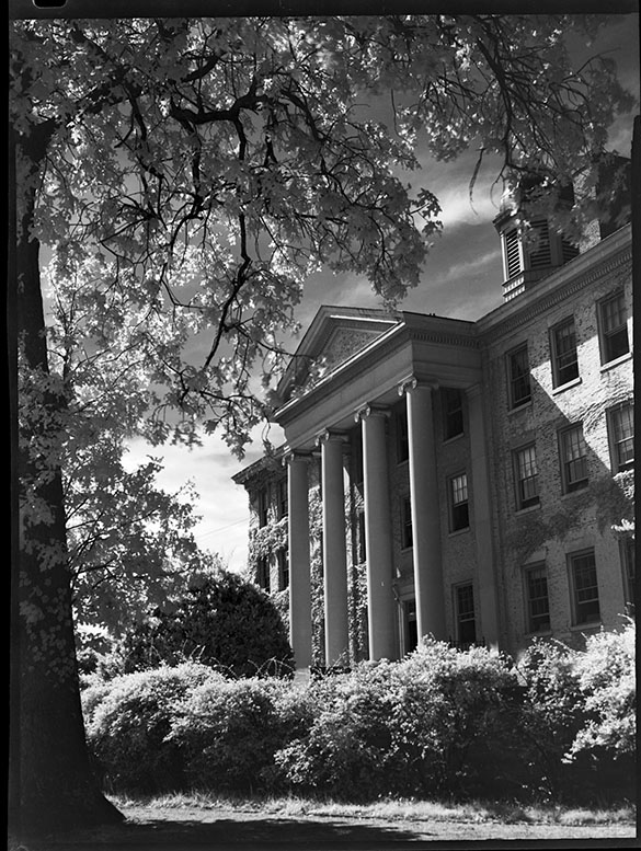 "This photograph of South Building appeared full-page in the April 1947 issue of The Alumni Review with a caption that noted that the building had been renovated in 1925. ""Of the University's 40,000 matriculates and ex-matriculates"" it continued, ""three-fourths of them knew this view of South Building in their student days."" The photograph as published is cropped significantly and rotated slightly clockwise to make the columns more vertical."