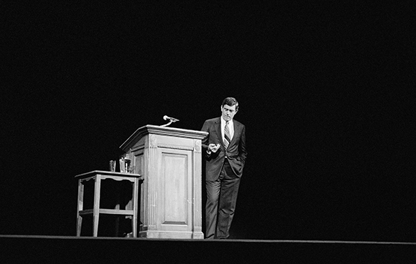 Dan Rather during his appearance at the Nelson Benton Lecture series at UNC-Chapel Hill in Memorial Hall on April 26, 1991.