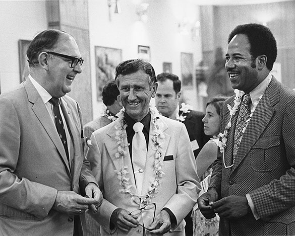 "North Carolina Commissioner of Agriculture Jim Graham; Lawrence H. Fountain, United State Congressman from the state's 2nd District; and Chapel Hill Mayor Howard Lee. The three are pictured at the ""Governor's Down-East Jamboree"" fundraising event for the North Carolina Democratic Party, held in Atlantic Beach on September 17–19, 1971."