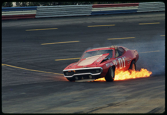 Car #01, driven by Earle Canavan, on fire during race at The National 500 at Charlotte Motor Speedway, October 10, 1971.