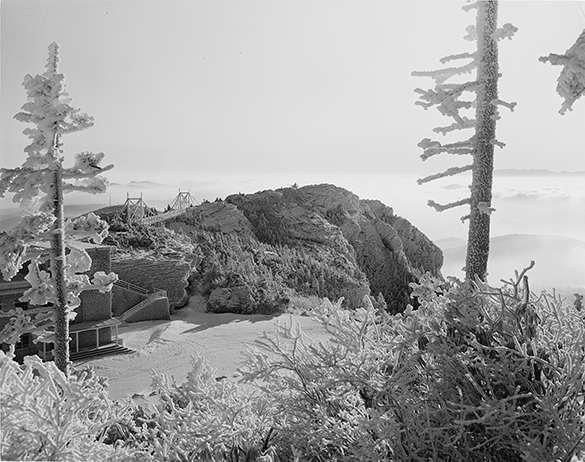 """Here's a scan of the entire 4"""" x 5"""" black-and-white negative of the summit of Grandfather Mountain as shot by Hugh Morton."""