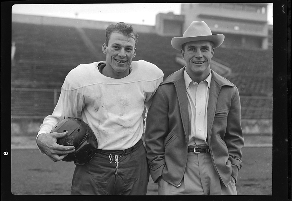 UNC's Charlie Justice and SMU's Doak Walker inside Dal-Hi Stadium, Dallas, Texas.