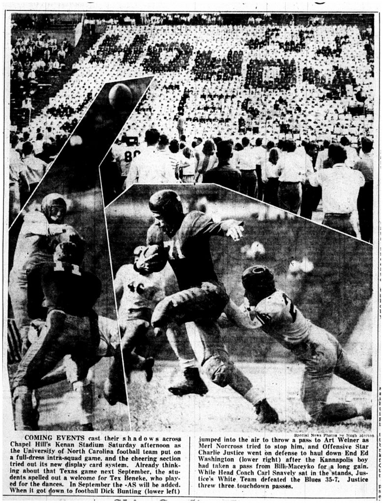 The Charlotte News published a three-image montage of Morton photographs after the 1948 Blue-White game.