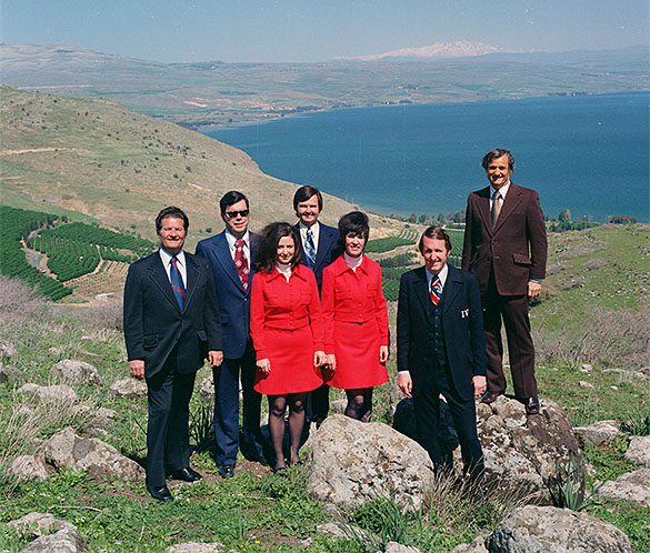 "Ralph Smith, Don Ange, Jackie Schuyler, Dick Schuyler, Maggie Griffin, George Hamilton IV, and Arthur Smith at the Sea of Galilee in Israel. Taken on 1973 trip Hugh Morton took to the ""Holy Land"" along with musicians George Hamilton IV, Arthur Smith, Ralph Smith, and others, possibly for filming of television special."