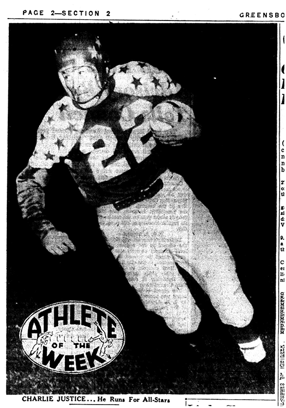 The Charlie Justice photograph made during the 1950 College All Star game, played on August 11th, as it appeared in the sport pages of the Greensboro Daily News on August 15th.
