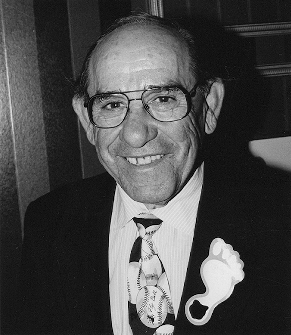 "Yogi Berra donning a ""Fly Ball"" tie and a Tar Heel."