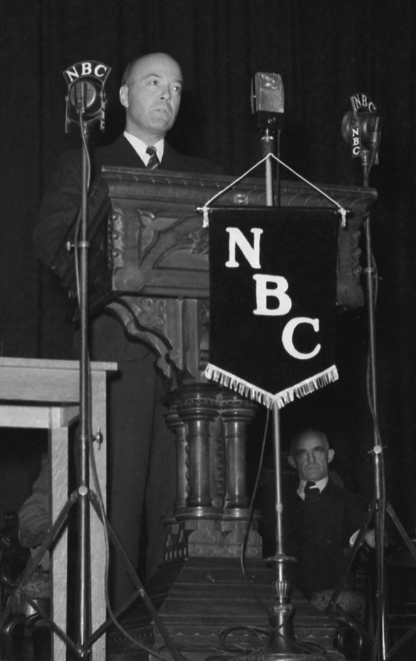 William C. Bullitt, speaking at Memorial Hall, Univeristy of North Carolina, Chael Hill, January 7, 1941. Photograph by Hugh Morton; cropped detail by blog editor.