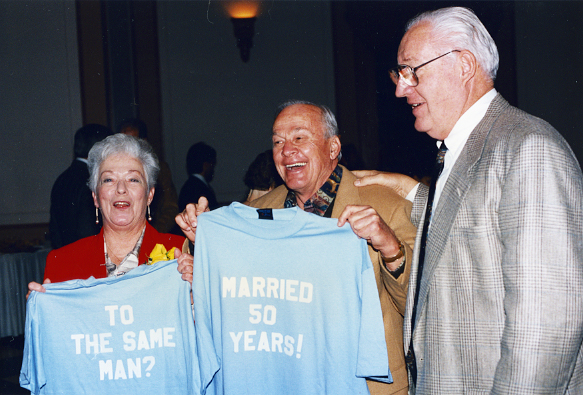Sarah and Charlie justice during their 50th wedding anniversary party.