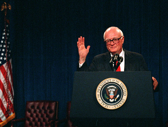 Hugh Morton at White House podium, during award ceremony when he received the Theodore Roosevelt Award for Conservation from President George H. W. Bush (not pictured) on October 22, 1990. (Photograph cropped by author.)