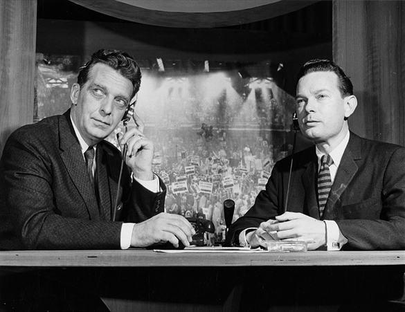Chet Huntley and David Brinkley. This unattributed photographic print in the Hugh Morton collection is likely a publicity photograph distributed by NBC. A similar photograph on the NBCUniversal website (submitted by Anonymous) dates the photograph as 1956. See http://www.nbcuniversal.com/content/chet-huntley-and-david-brinkley-gain-national-acclaim-their-election-coverage-and-their)