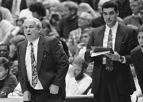 Villanova Head Coach Rollie Massimino (left) and Assistant Coach (and current Villanova Head Coach) Jay Wright. Photograph by Hugh Morton, copped by the author. A similar photograph can be seen in the online Morton collection.