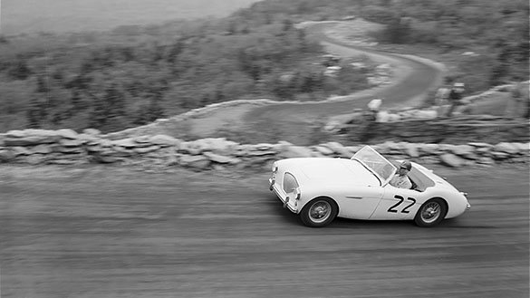 Car #22 racing to the top during the 1957 Grandfather Mountain Sports Car Hill Climb. (Photograph cropped by the editor.)