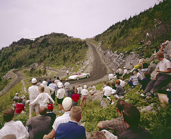 Spectators watching the Grandfather Mountain Sports Car Hill Climb circa the early 1960s. (Photograph cropped by the editor.)