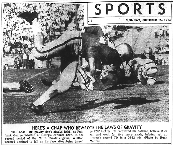 Hugh Morton's action photograph of the 1956 UNC versus Georgia game, as published in the October 15, 1956 issue of The Charlotte News. The caption identifies the ball carrier as George Whitton, but the game day program does not include his name and lists #32 as Ed Burkhalter.