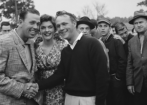 Arnold Palmer (center) shakes hands with Howie Johnson after the 1958 Azalea Open Golf Tournament at the Cape Fear Country Club, Wilmington, NC. Azalea Festival Queen Ester Williams smiles between the two good friends. Photograph by Hugh Morton, cropped by the author.