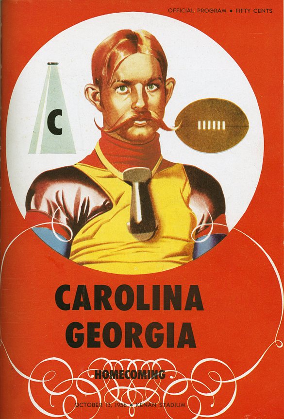 "Cover of the official program for the 1956 UNC Homecoming football game against the University of Georgia. Handlebar mustaches would have been more popular in the late 1890s, so perhaps the cover design was a throwback to the early days of the UNC–Georgia series. The 1956 contest marked the silver anniversary between the football squads of what the cover story declared to be the ""two oldest state institutions"" in the South. Those in the know know which school was the first to open its door and admit students!"