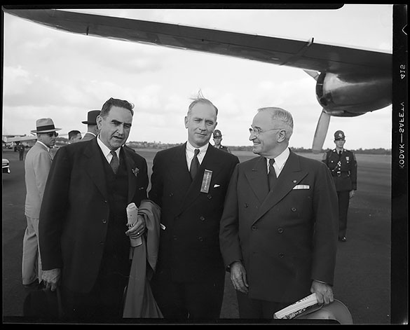 University of North Carolina President Gordon Gray (center) and North Carolina Governor W. Kerr Scott (left) welcoming President Harry Truman at the Winston-Salem airport, as he arrives to attend ground-breaking ceremonies at the new Winston-Salem, N.C. campus of Wake Forest University.