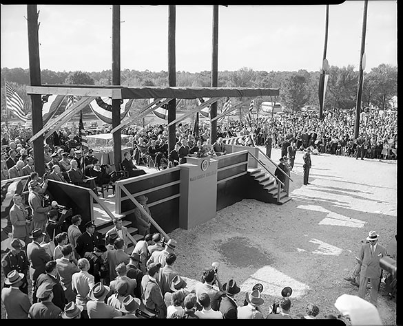 President Harry S. Truman giving a speech at a podium at the groundbreaking of Wake Forest University in Winston-Salem, N.C.
