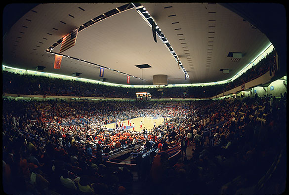Interior of Greensboro Coliseum before the March 4, 1977 ACC Men's Basketball Tournament semifinal game between UNC and NC State.