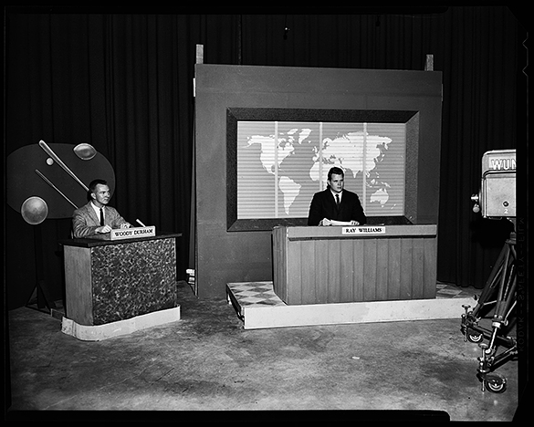 Woody Durham and Ray Williams on news set, April 19, 1961. (University of North Carolina at Chapel Hill Photographic Laboratory Collection Photographer: Bill Prouty.)