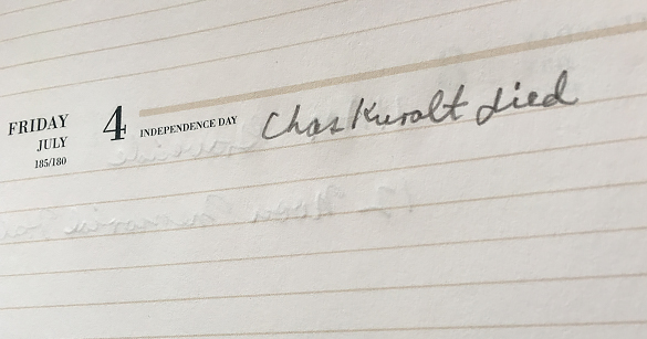 """Chas Kuralt died""—Hugh Morton's entry for July 4, in his 1997 Executive Planner."