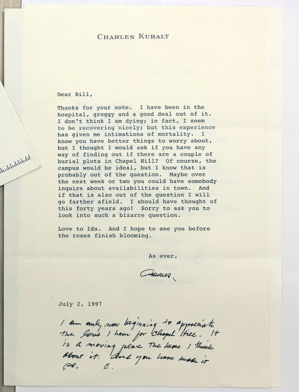 Charles Kuralt's last letter, written to Bill Friday, in the Charles Kuralt Collection #4882, Southern Historical Collection, The Wilson Library, University of North Carolina at Chapel Hill.