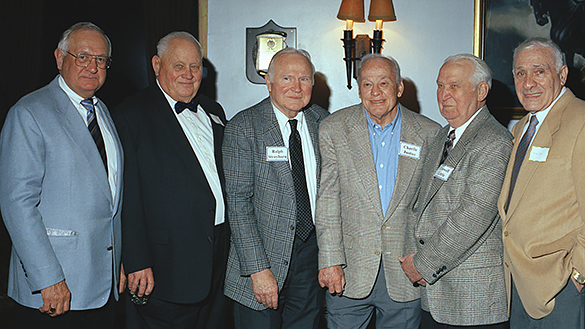 Joe Neikirk, an unidentified man, Ralph Strayhorn Jr., Charlie Justice, Crowell Little, and Georgia All-American Charley Trippi.