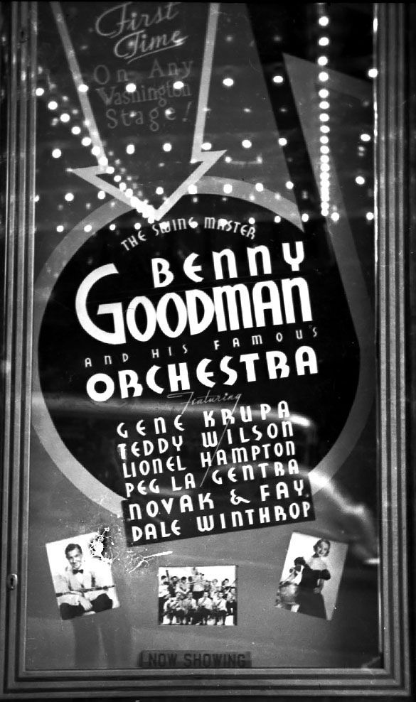 """WHEN BUDDHA SMILES""—This is a marquee poster for a Benny Goodman Orchestra performance attended by Hugh Morton. The date for this performance was unknown, but no longer. Buddha smiles again. (Hugh Morton photograph, cropped by the author.)"