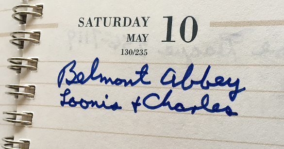 """Belmont Abbey / Loonis & Charles""—Hugh Morton's entry in his executive planner for May 10, 1997."