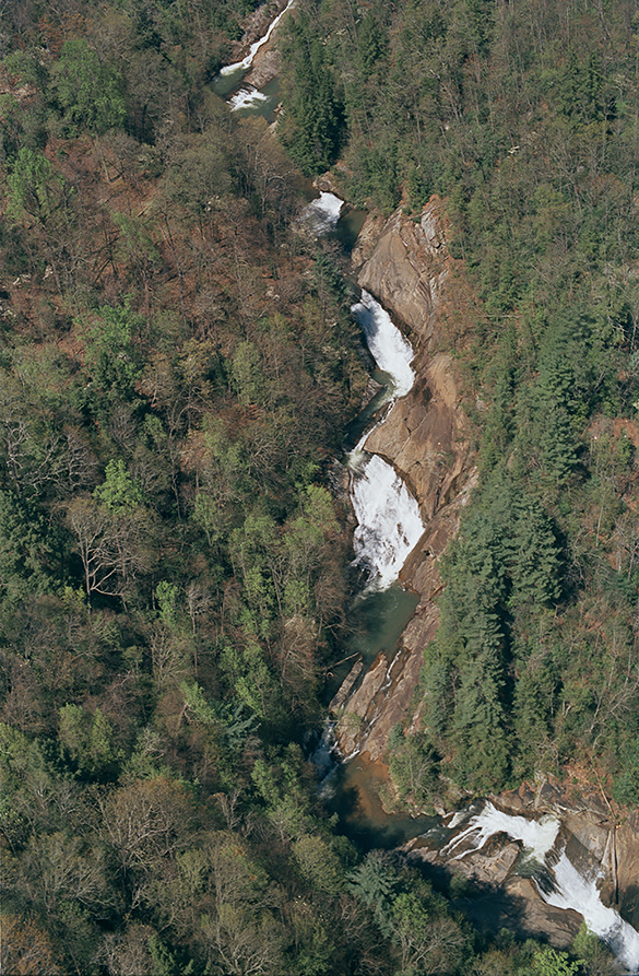 Hugh Morton's bird's-eye-view of the many waterfalls on the Toxaway River.