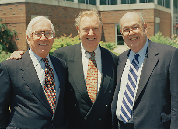 Left to right: James G. (Jim) Babb, then Executive Vice President at Bahakel Communications, with Loonis McGlohon, and Charles Kuralt at Belmont Abbey College, May 10, 1997. Babb is a class of 1959 alumnus of Belmont Abbey College.